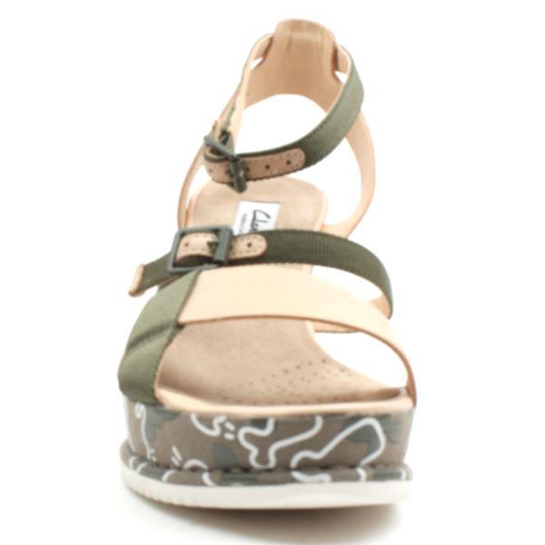 Clarks Adesha Art Wedge Sandal Green Combi | ShoeShop.ie | Cordners Shoes | Ireland