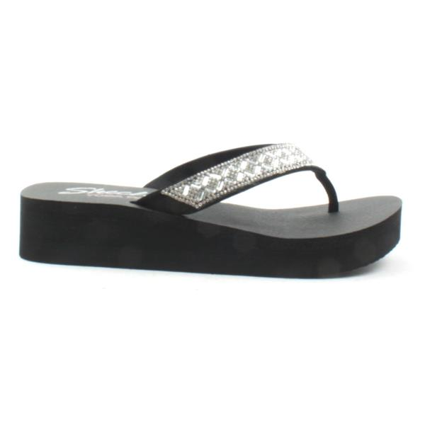 81aca2406180 Skechers 38653 Toe Post Sandal - Black Silver